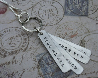 Bird Song Grateful Dead song lyrics hand-stamped aluminum pendant Tell me all that you know I'll show you snow and rain