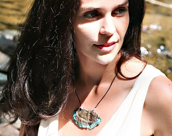 Blue Dipped Lichen Necklace. Copper. Leather. Statement Necklace