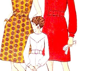 60s Mod dress day or Evening wear one piece A line Vintage Sewing pattern Vogue 7440 Size 12 UNCUT bust 34 1960s