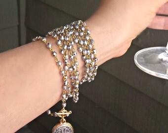CONVERTIBLE Bracelet Necklace, Long Beaded Wrap Around Bracelet, Wrap Around Necklace, St. Benedict Bracelet, Coin Bracelet