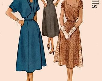 Vintage 1950's Women's Half Size Dress Pattern, Shaped Bodice , Sweetheart Neckline, Bolero, McCalls 9345 50s Rockabilly Size 20.5 UNCUT FF
