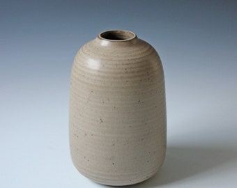 Modernist art studio pottery vase - tan stoneware weed pot vase - bulbous shape mid century vase - signed