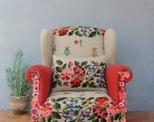 Embroidered Armchair Flowers and Bugs Bohemian Flower Power Furniture Vintage Embroidery, Global Textile