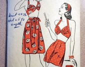 Vintage Advance 3894 - 1945 Halter Top, Shorts, Skirt Ensemble Pattern sz 12 *Bust 30*