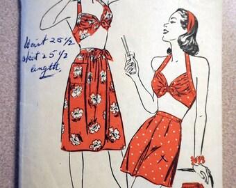 Vintage Advance 3894 - 1945 Halter Top, Shorts, Skirt Ensemble Pattern sz 12 *Bust 30*