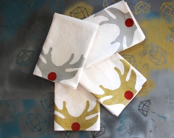 Reindeer Napkin Set - Holiday Entertaining - Christmas Dinner - Reusable Napkins - Rudolph