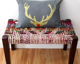 Rudolph Antler Decorative Throw Pillow - Gold and White Antler Christmas Pillow - Xmas Lumbar Throw Pillow