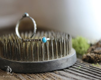 Cheyenne // Sleeping Beauty Turquoise // Small Petite Sterling Silver Stacking Ring, Boho made to order in your size, Gemstone Bellalili