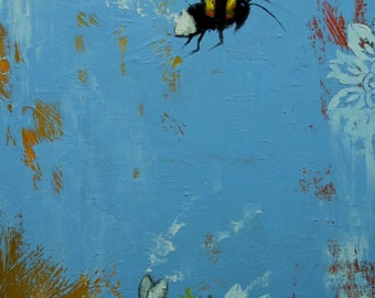 Bee painting 343 18x36 inch insect animal portrait original oil painting by Roz
