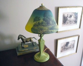 Art Nouveau Lamp, Antique Boudoir Lamp, Green Reverse Painted Glass Shade, Cast Iron Table Lamp, Cottage Chic Decor, Country Landscape Scene