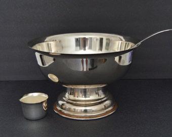 Leonard Silver Plated Punch Bowl Set for 10- Vintage Large Silverplated Champagne Bucket Ice Wine Cooler Urn Vase Bar Cart Buffet Trophy