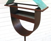 Bird feeder Sculptural Steel & Copper Bird Feeder No. 325 - Freestanding unique modern birdfeeder