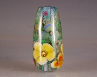 Lampwork Bead, Lampwork  Focal Bead, Encased Floral Bead