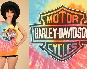 ViNtAgE Harley Davidson Tie Dye Tank Top Santa Barbara Harley-Davidson Logo 80's 90's Motorcycle Biker Moto Womens L