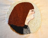 Portrait of a girl - hand embroidery - ooak