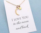 Moon and Star Necklace | I Love You to the Moon and Back | Valentines Gift | Mothers Day Gift | Gift for Mom | Silver or Gold | L02