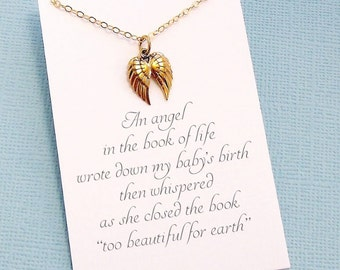 Miscarriage Necklace   Angel Wing Necklace, Miscarriage Quote, Infant Loss Jewelry, Sympathy Gift, Loss of a Child, Condolence   R06