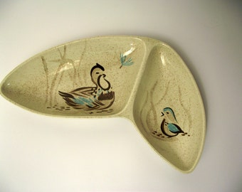 Bob White Red Wing Mid Century Boomerang Divided Serving Dish Bird Woodland