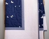 Modern, Simple, Elegant Baby Quilt; Custom Navy, Grey and Ivory, Organic Crib Quilt, Baby Quilt, Toddler Quilt; Handmade Newborn Baby Gift