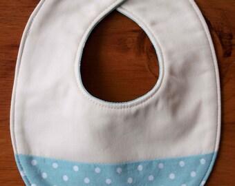 SALE, Save 70% Organic Baby Bib, SKY DOT; Blue and White Polkadot Newborn Baby Bib Gift by Organic Quilt Company