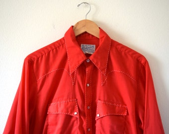 Vintage 60s 70s Rockmount Ranch Wear Red Pearl Snap Button Long Sleeved Western Shirt with White Top Stitching (size large)