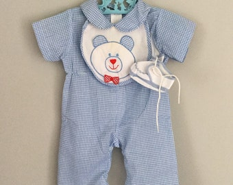 Vintage Boys Bear Bib Blue Gingham Outfit and Shoes 0-3 months