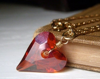 Swarovski Heart Necklace, Crystal Heart Necklace, Wild Heart Necklace, Red Magma Swarovski, Gold Filled Crystal Pendant Necklace