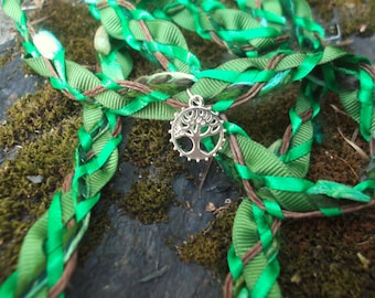 Wedding Handfasting Cord - Forest Tree of Life Green Brown