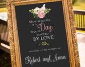 Wedding Signage, Wedding Sign Printable, Welcome Sign, Gatsby Wedding, chalkboard Sign, Hashtag, Wedding Decorations, Art Deco Wedding,