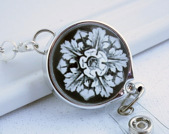 Silver Chain Badge Reel Lanyard - White Flower on Black