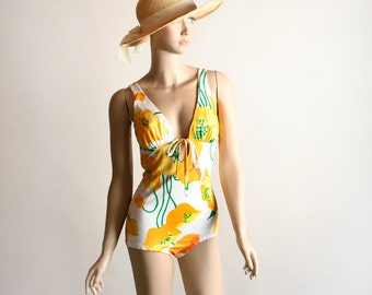 Vintage Floral Bathing Suit - Cole of California Poppy Print Citrus Open Back Swim Suit - Small