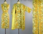 1950s Yellow Roses Dress & Swing Coat Set S M Vintage Floral Silk Set