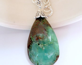 Boulder Chrysoprase Pendant Sterling Silver Fine Silver Artisan OOAK Organic Rustic Boho Gift for Her Fall Autumn Necklace