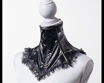 Pointed Black PVC Neck Corset
