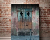 Rustic Door Photography, New Orleans Print, Blue Door Wall Art, French Quarter Decor, Shabby Chic, Colorful Watercolor Art, Rustic Decor