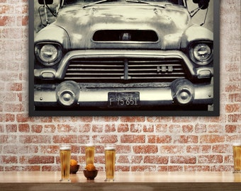 Vintage Truck Photography, Classic Car Photo, Ford, Rusty Car, Black and White Photography, Garage Art, Rustic Wall Art, Vintage Car Photo