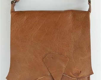 Raw edge leather messenger bag with vintage key - tan