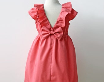 Coral Dress, Toddler and Girl, Holiday, Flower girl, Birthday Party Dress