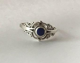 925 lapis blue filigree ring vintage