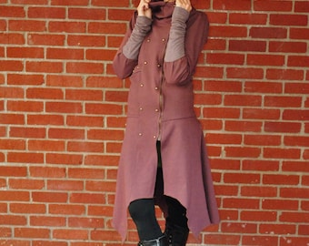 SALE Pixie Clothes, Steampunk Long Coat, Festival Clothing, Intergalactic Apparel, Gypsy Clothes, Hippie Clothing