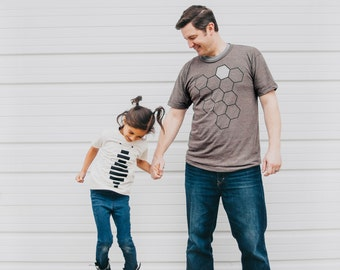 Father's Day Gift - Honey BEE and hive tshirt set, graphic tees, father daughter, father son, dad and baby, matching shirts, new dad gift