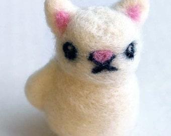 Felted Cat Miniature Figure - White Felt Cat Art Doll Figurine 2 Inch Tall - Cute Needle Felted Cat Kitten By Karen Watkins