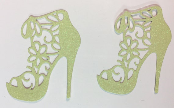 Flower Lace High Heel Pastel Yellow Glitter Die Cut 10 Pieces Elegant Feminine Embellishment Scrapbook Greeting Card Art Craft Mixed Media