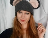 New Fleece Grey Mouse Animal Ears Hat Beanie Winter