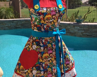 Mario Brothers inspired Sassy Apron with Petticoat, Womens Plus Sizes, Kitchen Apron, Full, Handmade Cosplay Apron Mario