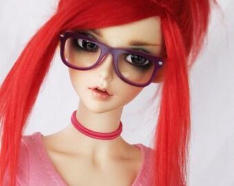 "SD BJD feeple 60 8.5"" Red and Burgundy Ramie fiber OOAK Ponytail wig MonstroDesigns doll wig"