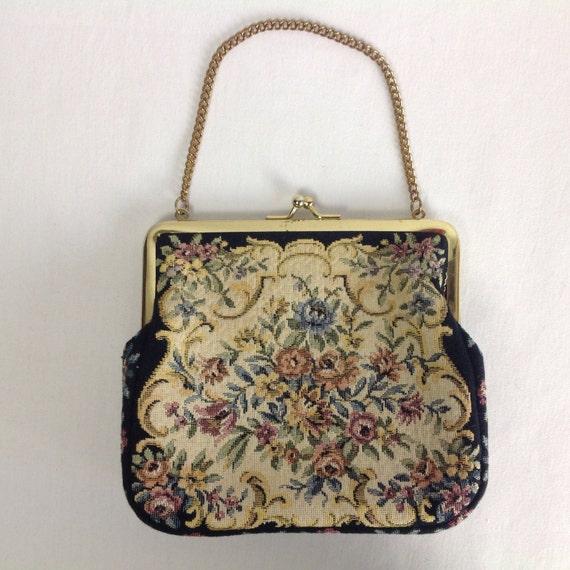 Vintage Petit Point Tapestry Handbag Evening Purse Chain