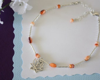 Orange Anklet and Sterling Silver, Spinal Oyster Anklet Lotus,  Silver Anklet, Beach, Vacation, Beach Wedding, Bridesmaid, best friend gift