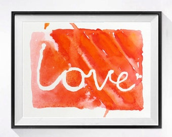 Romantic art painting Original watercolor painting Abstract art Wedding gift of Love Anniversary gift orange  painting red 8.5 x 10.5