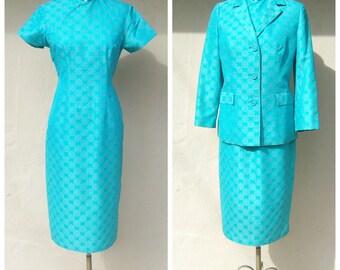 50s 60s dress set / aqua blue silk Chenongsam dress + jacket / Qipao dress set / hand stitched jacquard print gorgeous, medium